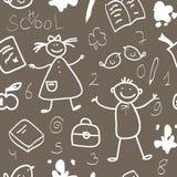 学校葡萄酒无缝的模式草图 图库摄影