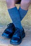 学校鞋子 图库摄影