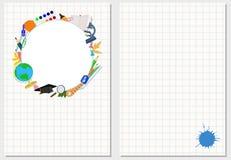 学校题材的装饰卡片 也corel凹道例证向量 库存图片