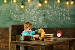 学校食堂 小男孩在学校食堂 健康吃的学校食堂 儿童饲料玩具熊玩具 免版税库存照片