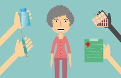 医学概念-妇女接受疗程 免版税图库摄影