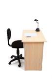 学生书桌和椅子与裁减路线 图库摄影