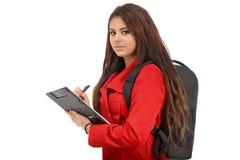 年轻学生准备好在白色隔绝的学校 免版税库存图片