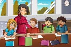 学生和老师在教室 向量例证