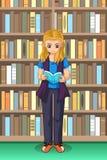 学生在图书馆例证的女孩读书 皇族释放例证