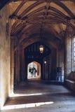 学生在基督教会学院,牛津走里面 免版税库存图片