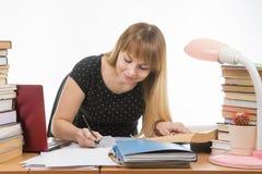 学生在桌上乱丢与书在图书馆愉快地写概要 免版税库存照片