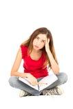 学生女孩乏味学习 库存图片
