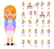 学生女孩小学生学生用不同的姿势和行动青少年的字符被设置的孩子象隔绝了教育 免版税库存图片