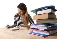 年轻学生女孩集中了学习检查的在大学图书馆教育概念 免版税库存图片