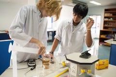 学生学习化学和科学在大学` s laborat 免版税图库摄影