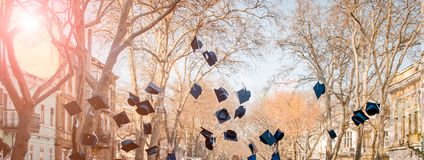 学生投掷他们的盖帽 研究的毕业 作为背景诱饵概念美元灰色吊异常分支 免版税图库摄影