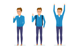 学生显示不同的姿态:注意,专心,控制,成功,喜悦,正面 免版税库存图片