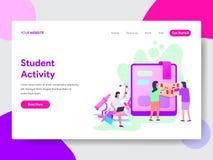 学生活动例证概念登陆的页模板  网页设计的现代平的设计观念网站的和 向量例证