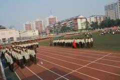学生的10中国军事训练 免版税库存图片