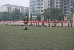 学生的18中国军事训练 库存图片