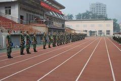 学生的19中国军事训练 图库摄影