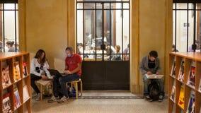 学生研究在图书馆里在波隆纳 免版税库存照片
