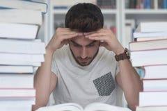 学生研究在学校图书馆里 免版税库存图片