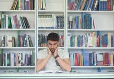 学生研究在学校图书馆里 库存图片