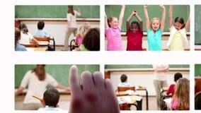 学生蒙太奇与老师学习的 库存照片