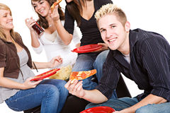 学生:人饥饿为薄饼快餐 免版税库存图片