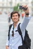 学生/旅游采取的自画象 免版税库存图片