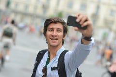 学生/旅游采取的自画象 免版税库存照片