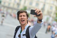 学生/旅游采取的自画象 图库摄影