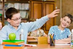 学生画象在教室 免版税库存照片