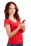 学生画象有电话的在手上 库存图片