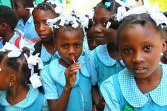 学童在Robillard,海地 免版税库存图片