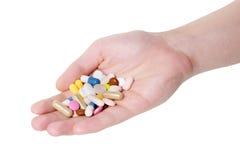 医学药片和胶囊在白色背景 库存照片