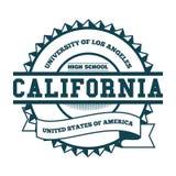 学院加利福尼亚徽章和标签 设计元素, T恤杉图表,传染媒介 图库摄影
