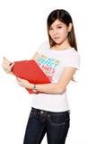 学院逗人喜爱的文件女孩红色 库存照片