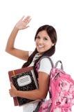 学院问候讲西班牙语的美国人学员 免版税库存照片