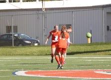 学院NCAA DIV III女子的足球 库存照片