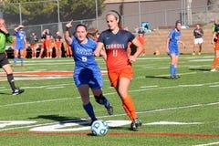 学院NCAA DIV III妇女足球 免版税库存图片