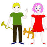 学龄儿童:男孩和女孩 免版税图库摄影