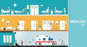 医学&平的设计集合 免版税图库摄影