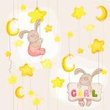 婴孩兔宝宝无缝的样式 免版税库存照片