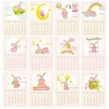 婴孩兔宝宝日历2015年 图库摄影