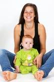 婴孩和保姆 库存照片
