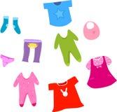 婴孩和儿童衣裳汇集的汇集。 免版税库存图片