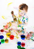 婴孩和油漆 库存照片