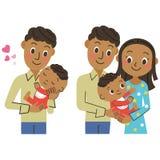 婴孩和父母和孩子 库存照片