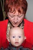 婴孩和祖母 库存照片