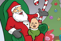 婴孩哭泣的圣诞老人 免版税库存图片