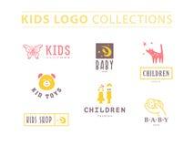 婴孩商标的传染媒介汇集 免版税库存照片