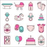 婴孩图标集 免版税库存照片